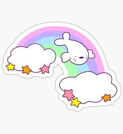 Rainbow Cloud Harp Seal Sticker
