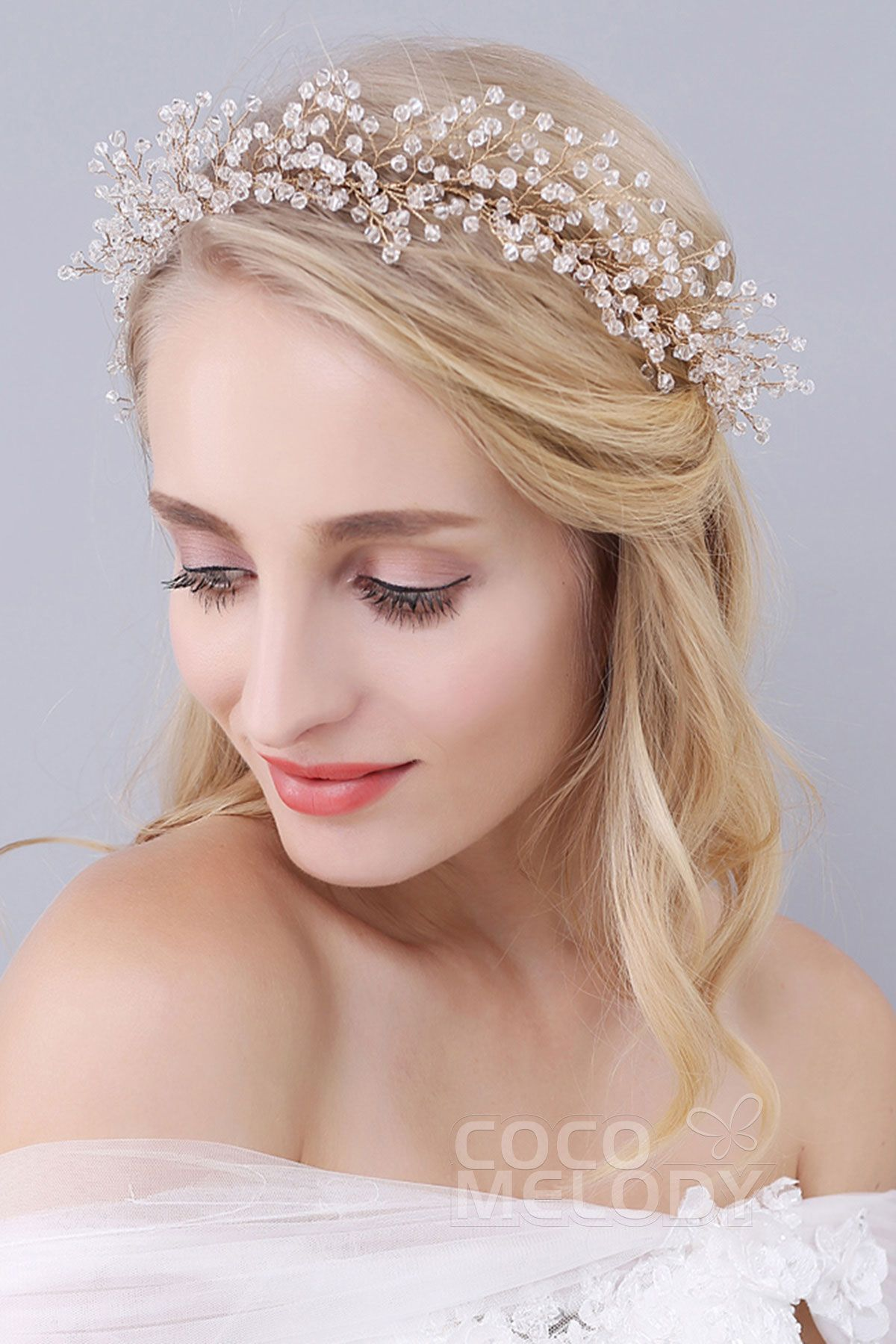Fairy-tale Gold Alloy Wedding Headbands with Crystal SAH160052
