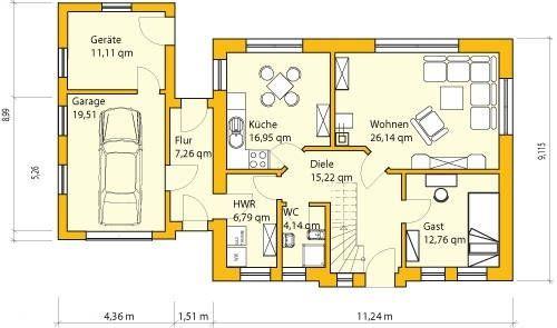 Grundrisse einfamilienhaus mit garage | Haus | Pinterest | Grundriss ...