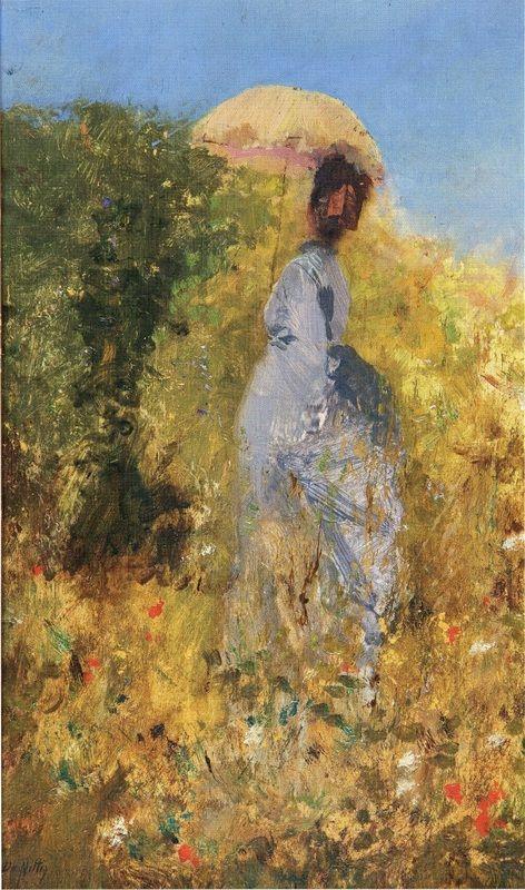 Giuseppe De Nittis (1846-1884, Italy; impressionism, verism) | Femme dans le Jardin,  1873 | Femme dans le Jardin