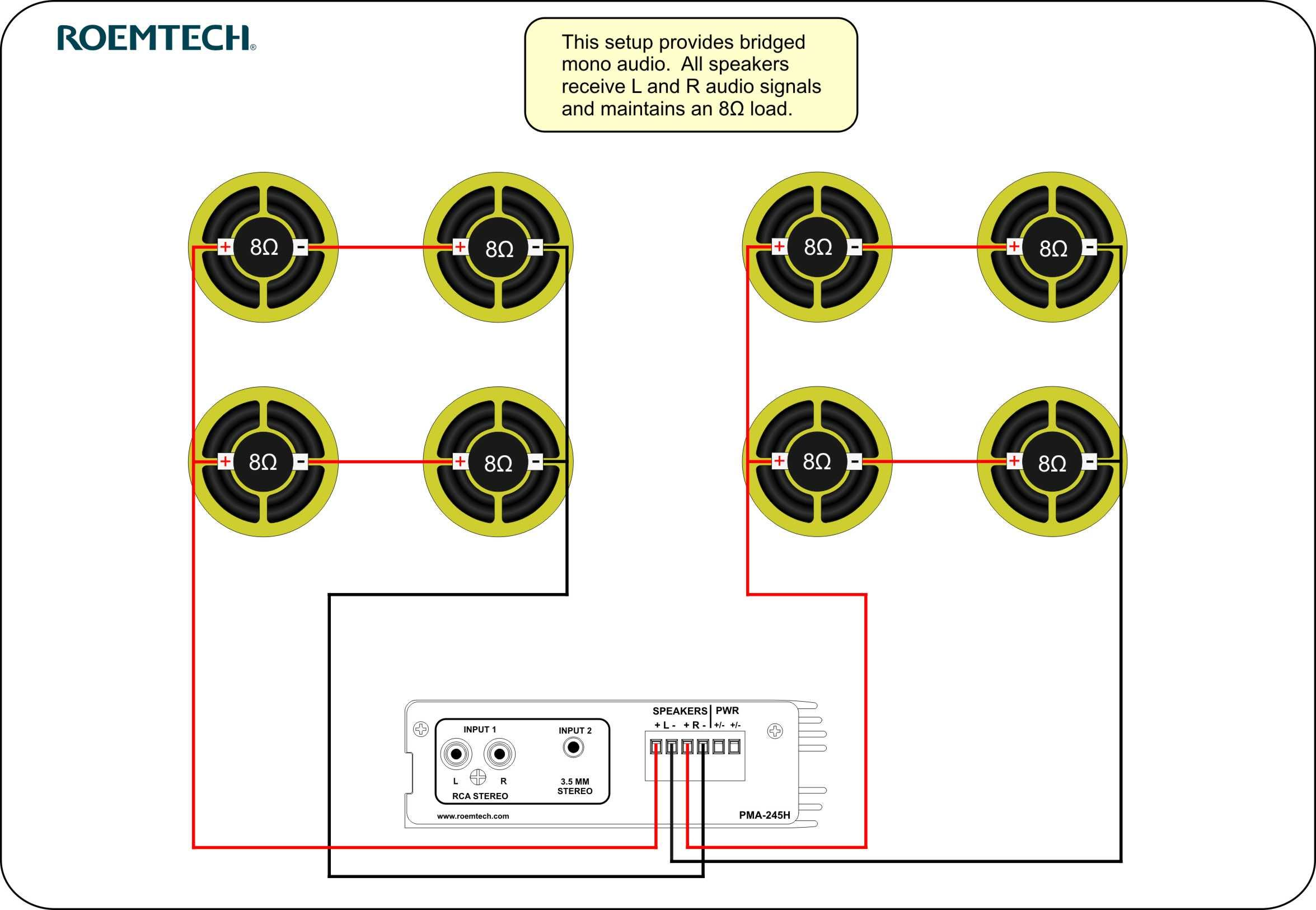classroom audio systems multiple speaker wiring diagram Wiring 6 8 Ohm Speakers