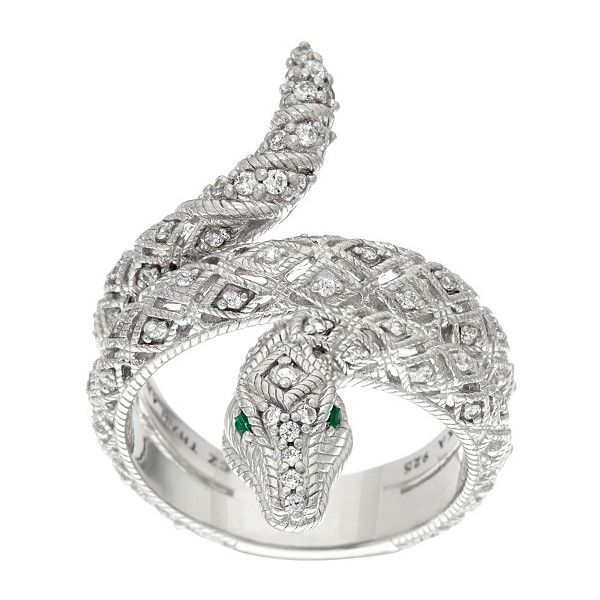 Judith Ripka Sterling Diamonique Emerald Eye Snake Ring ($116) ❤ liked on Polyvore featuring jewelry, rings, coiled snake ring, snake rings, emerald jewelry, snake jewelry and emerald jewellery