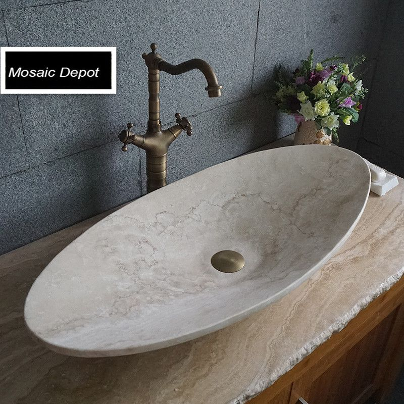 Oval Travertine Sinks Bathroom Stone Basin Countertop Sinks Vanity