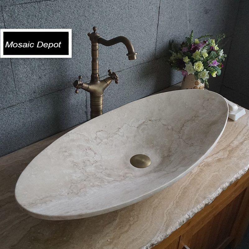 Oval Travertine Sinks Bathroom Stone Basin Countertop Sinks Vanity