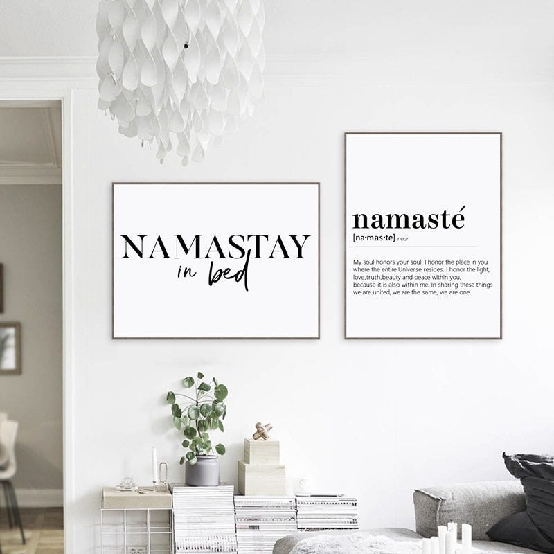Namastay In Bed Prints Yoga Decor Bedroom Modern Wall Art Namaste Definition Canvas Painting Yoga Artwork Zen Prints Yoga Decor Dining Room Wall Art Wall Art Canvas Painting