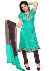 Sea Green Faux Chiffon Readymade Flared Churidar Kameez