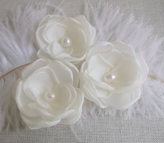 White Floral Hair Bow Organza Tulle Pearls Flower Girls Wedding Alligator Clip