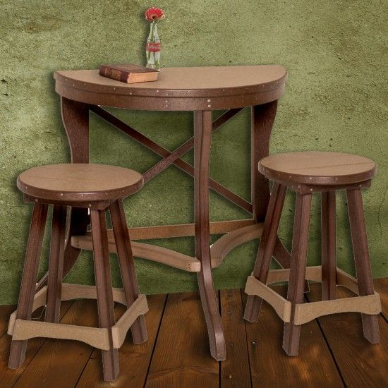 Amish Poly Half Round Patio Pub Table 3 Piece Set | amish ...