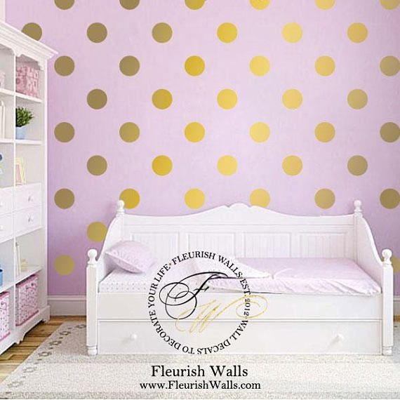 Polka Dot Wall Decal Gold Wall Decal Gold Dot Wall Sticker Polka