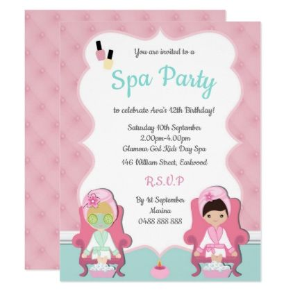 Girls Spa Invite Pamper party Make up invitation - birthday cards - spa invitation