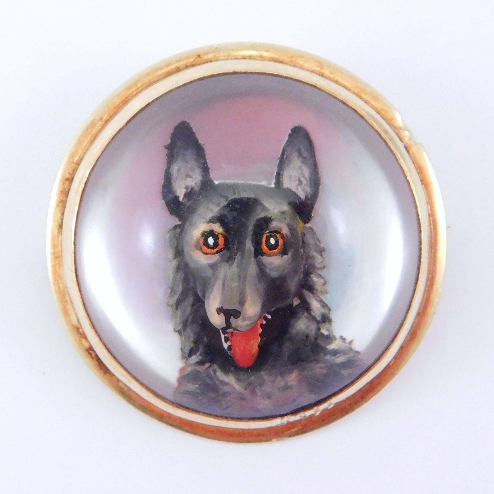 Antique 14K Essex Crystal Dog Brooch Pendant Rare