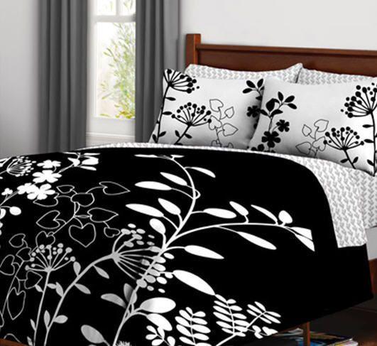 Black white flower teen girls queen comforter set 7 piece bed in black white flower teen girls queen comforter set 7 piece bed in a bag mightylinksfo