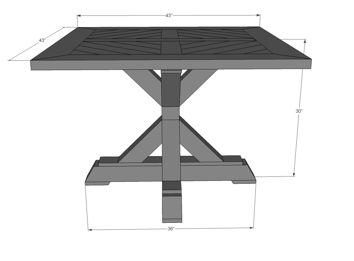 Ana white build a square x base pedestal dining table for Square dining table designs