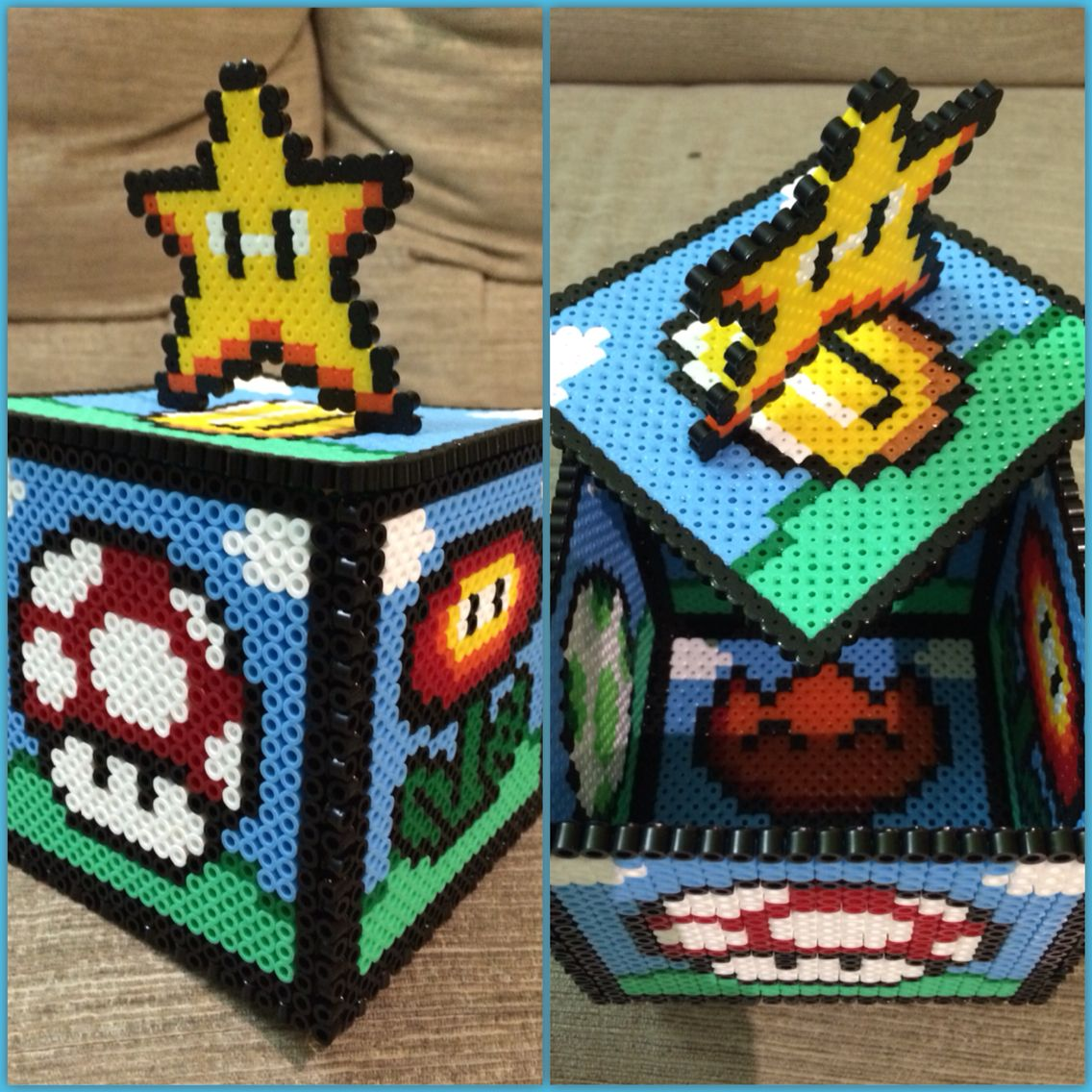 new creation box 3d mario perler hama beads [ 1136 x 1136 Pixel ]