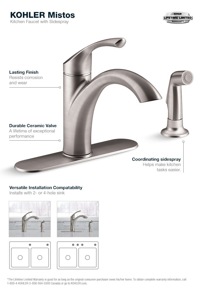 KOHLER Mistos Single-Handle Standard Kitchen Faucet with Side ...