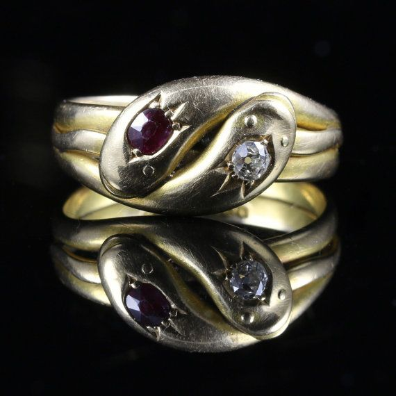 6e04694a28247 This beautiful Edwardian Diamond and Ruby snake ring is set in 18ct ...