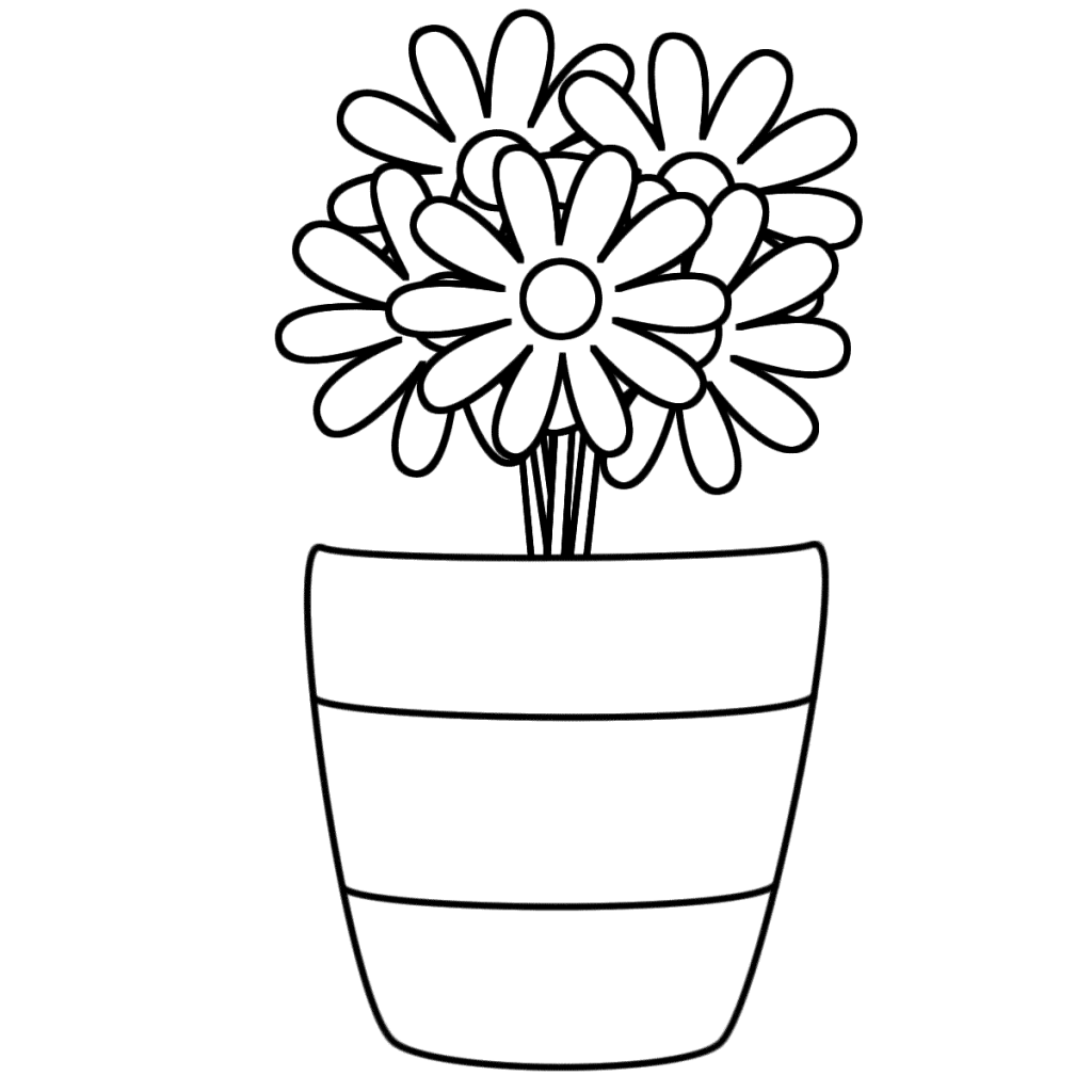 Flower Pot Coloring Pages Best Coloring Pages For Kids Flower Coloring Pages Rose Coloring Pages Spring Coloring Pages
