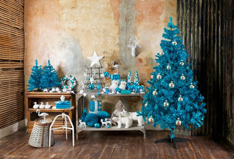 Paperchase Christmas Teal Tree With Silver Baubles Silver Stars And Christmas Tree Decorations Uk Colorful Christmas Tree Silver Christmas Tree Decorations