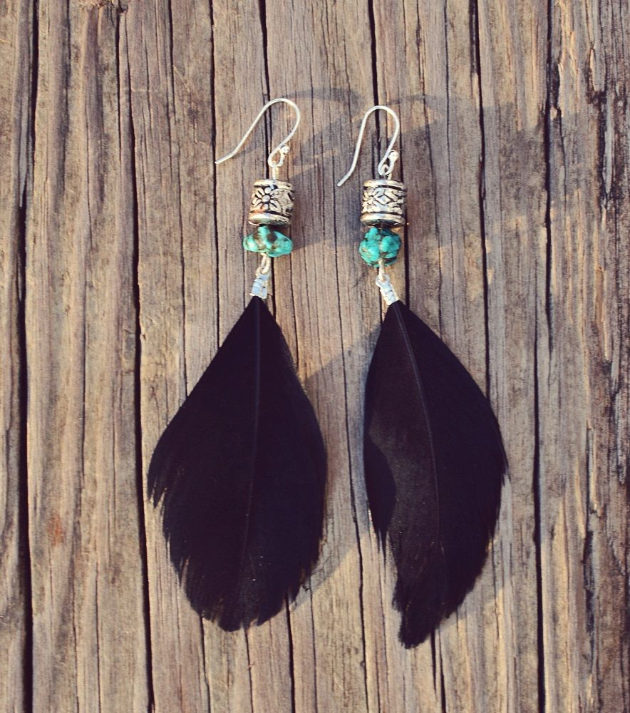 These exotic earrings were handmade with real turquoise and black feathers. They are 4 inches long and the hooks are silver plated.