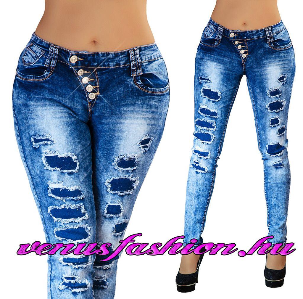 Divatos női szaggatott farmer nadrág XS S M L XL méretekben - Venus fashion  női ruha webáruház 9f39a22028