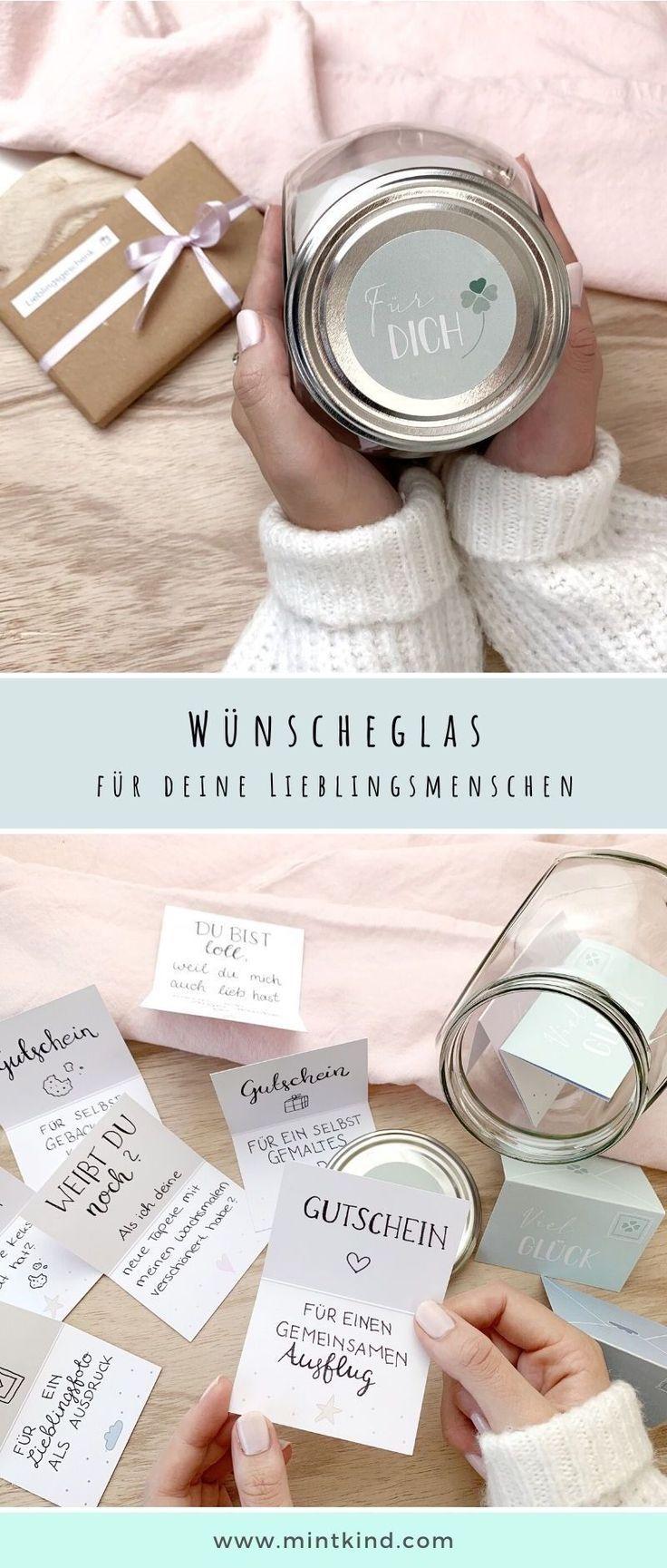 mintkind Wünscheglas 12 Karten Geschenk Geburtstag Weihnachten
