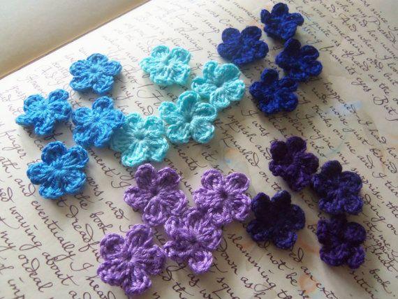 Set of 20 Blue and Purple Mini Crochet Flowers by Roxana010, $3.00