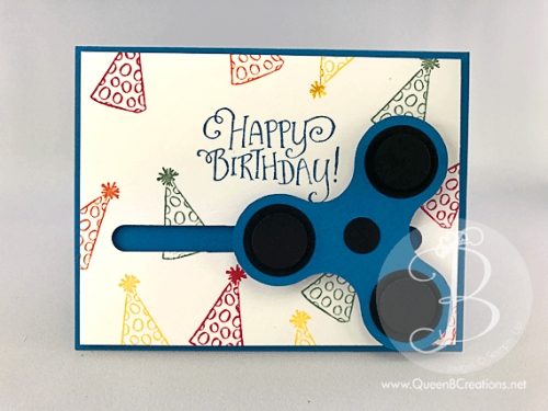 stampin up better together primary colors birthday card with a fidget spinner that actually