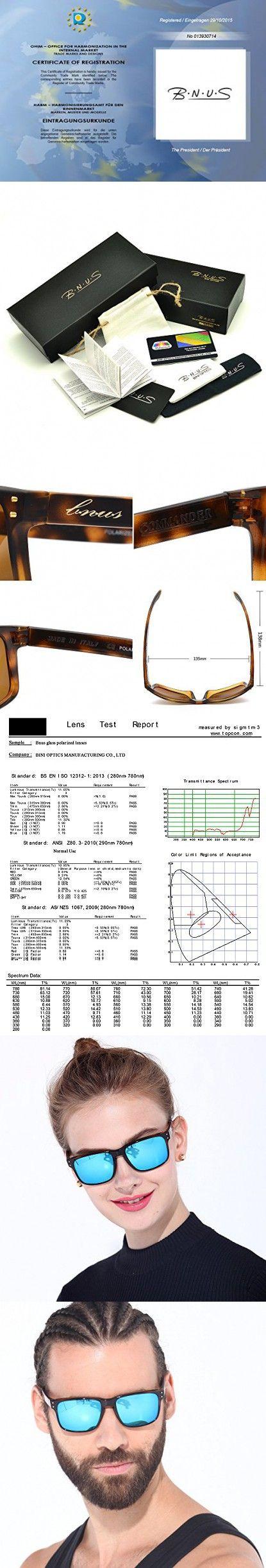 fccbfcac64d BNUS Italy made Classic Sunglasses Corning Real Glass Lens w. Polarized  Option (Frame  Tortoise   Lens  Blue Flash