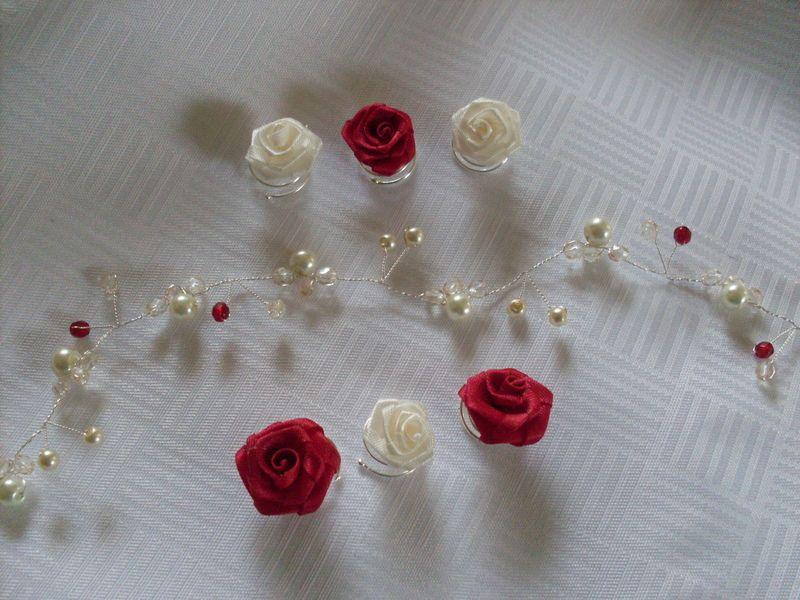 Haarschmuck Hochzeit Perlenband Creme Rot Von Kranzchen Und Co Auf