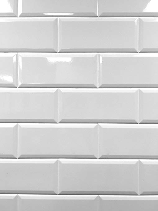 4x10 White Glossy Finish Beveled Ceramic Subway Tile Shower Walls Backsplashes (5 Piece Pack) - - Amazon.com