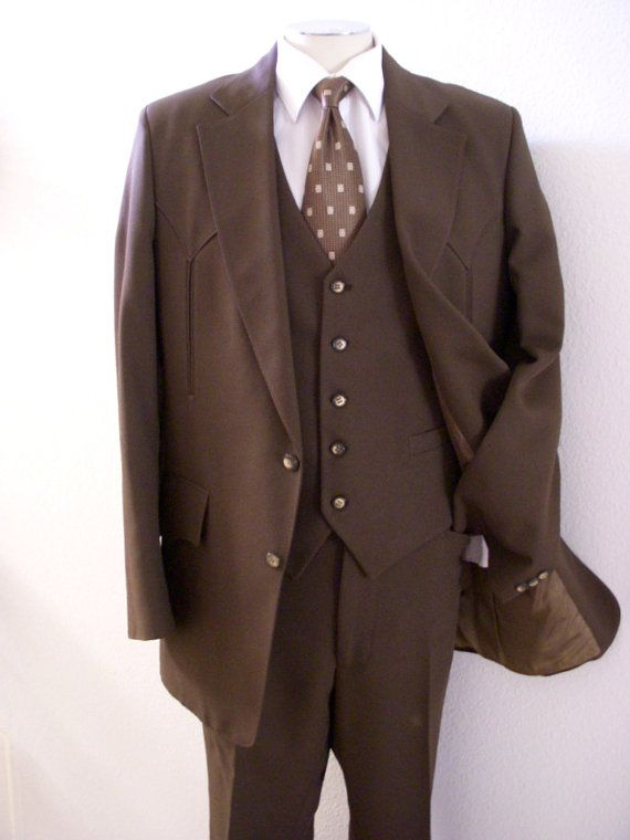 50s 60s vintage mens h bar c ranchwear suit brown western men 39 s suit with arrow pocket talon. Black Bedroom Furniture Sets. Home Design Ideas