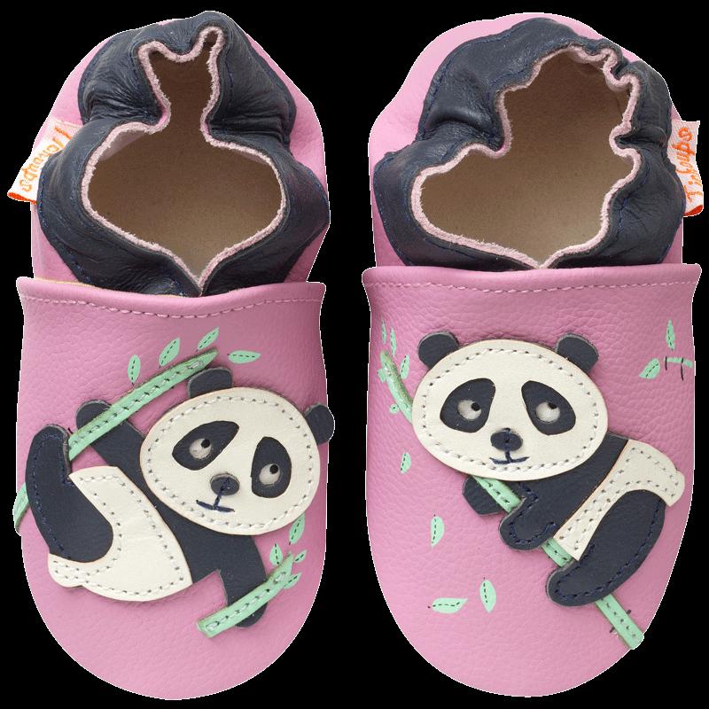 6f2b3ddac757f Chaussons bébé cuir souple Dana le panda– Tichoups.