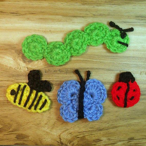 Crochet Pattern Bundle, Crochet Insect Pattern, Ladybug Pattern, Caterpillar Pattern, Butterfly Pattern, Bumblebee Pattern