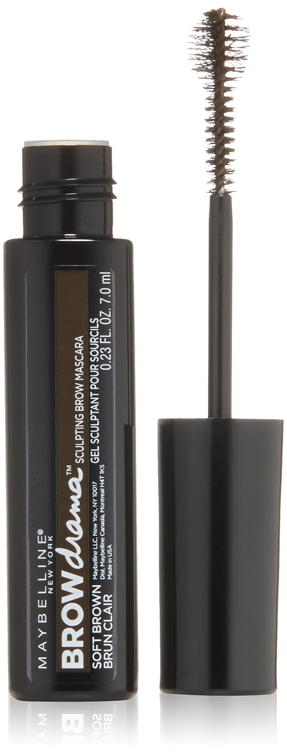 Maybelline New York Eyestudio Brow Drama Sculpting Brow Mascara, Soft Brown, 0.23 Fluid Ounce. New scultping ball brush for bold and defined brows. Colored gel tints brows and comfortably holds hairs in place. No clumping or flaking.
