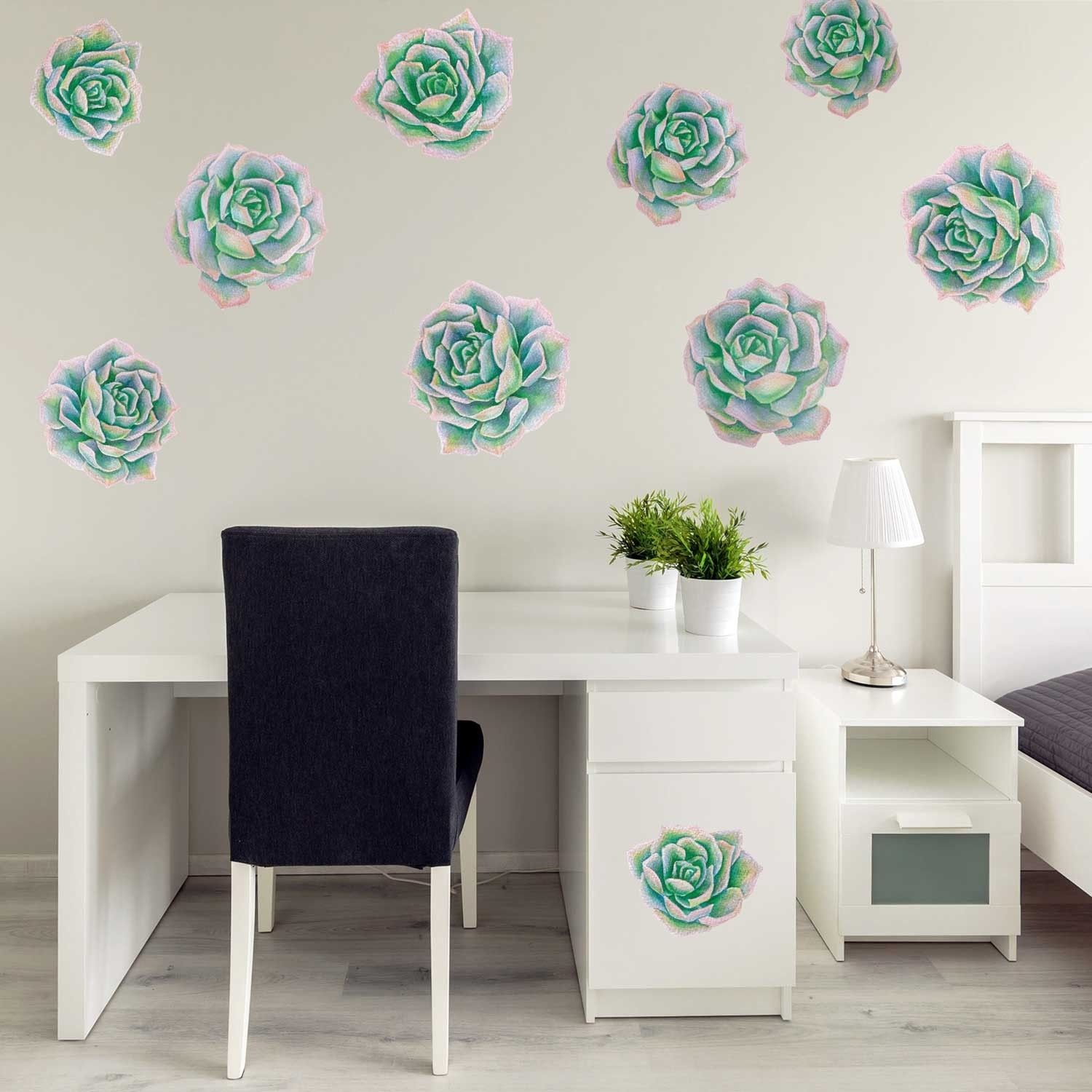 Our Green Pink Succulent Watercolor Wall Decal Kit Is Perfect