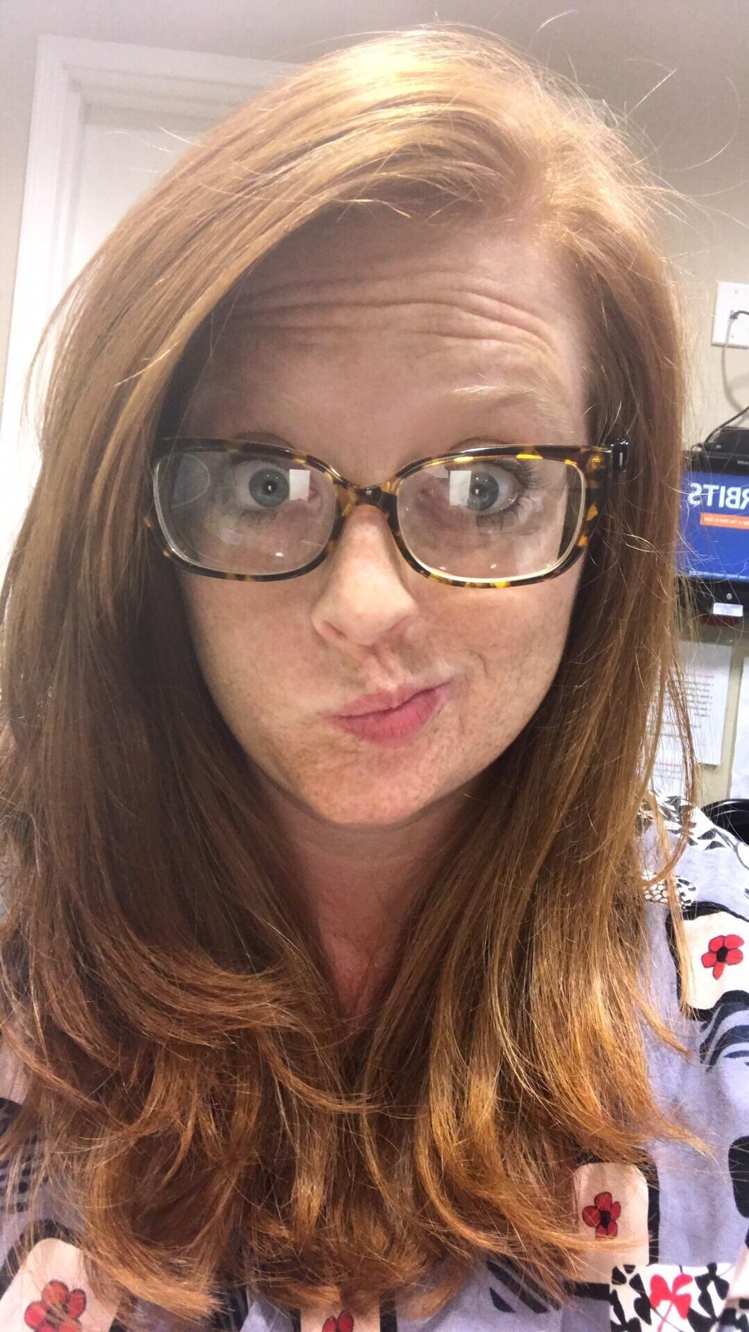 Teen glasses redhead