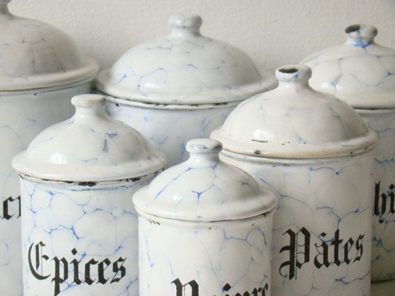 Antique French Enamel Kitchen Canisters Six By Culturalpollination 135 00