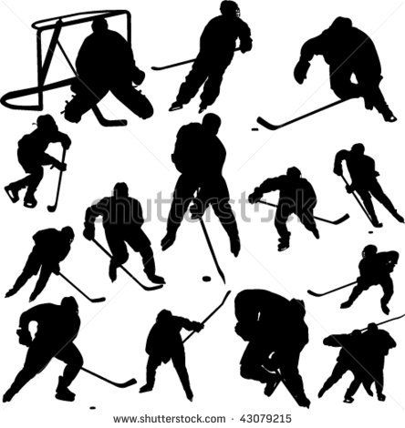 Collection Of Hockey Vector 43079215 Shutterstock Hockey Players Vector Silhouette