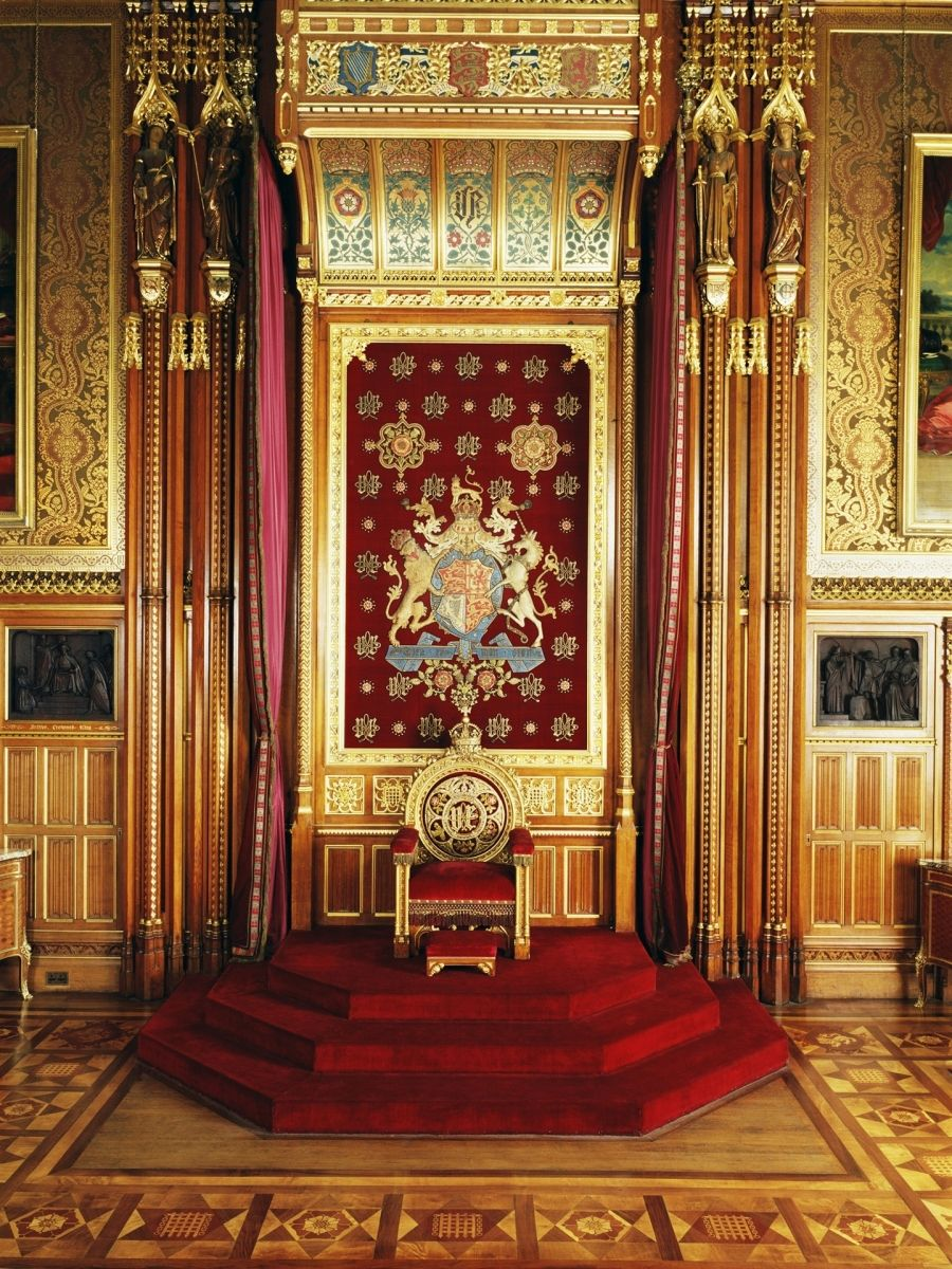 Throne In The Queen S Robing Room Palace Of Westminster United Kingdom Mid 19th C Palace Interior Houses Of Parliament Westminster