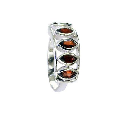 cunning Garnet Silver Red Ring gemstone L-1in US 5,6,7,8 Sz 9