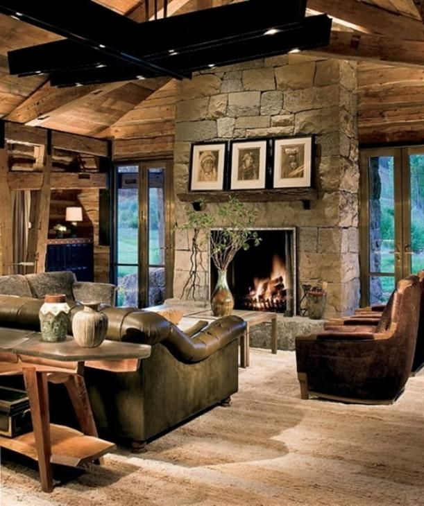 Wonderful Traditional Ranch House Design With Rustic Atmosphere, Liking The Colours,  Stone, And Fireplace