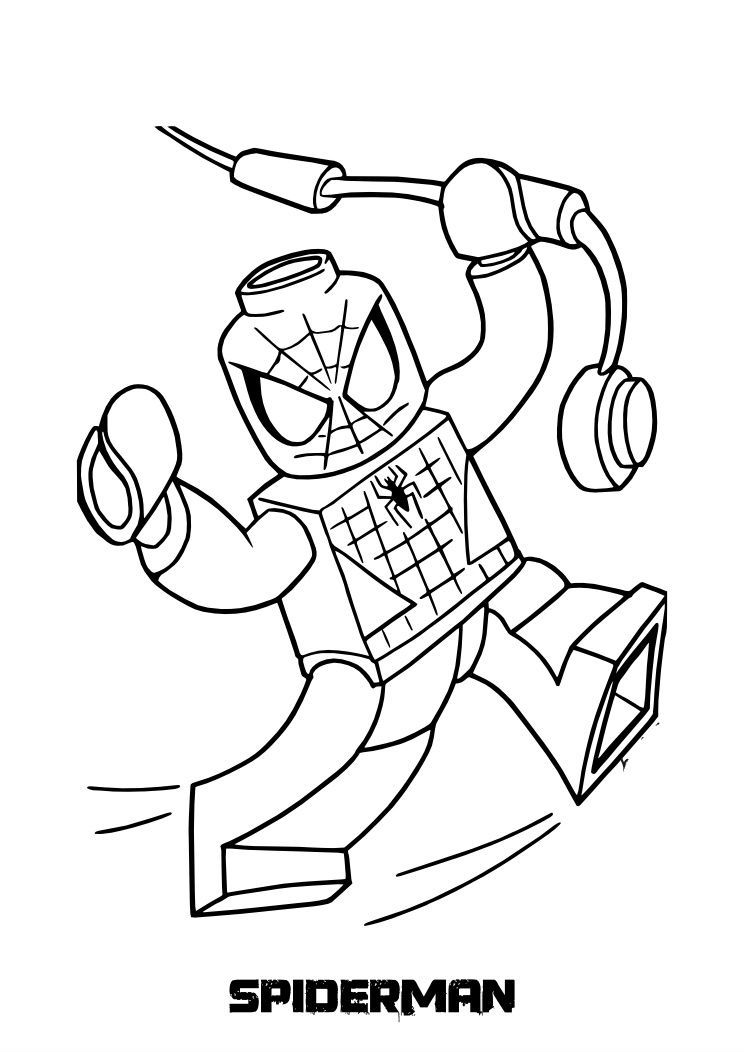 Lego Spiderman coloring picture for kids children thinggies