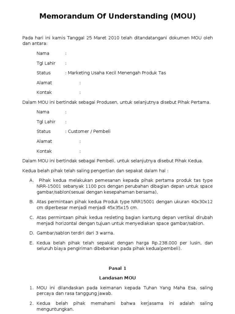Image Result For Draf Nota Kesepahaman Pembelian Batubara