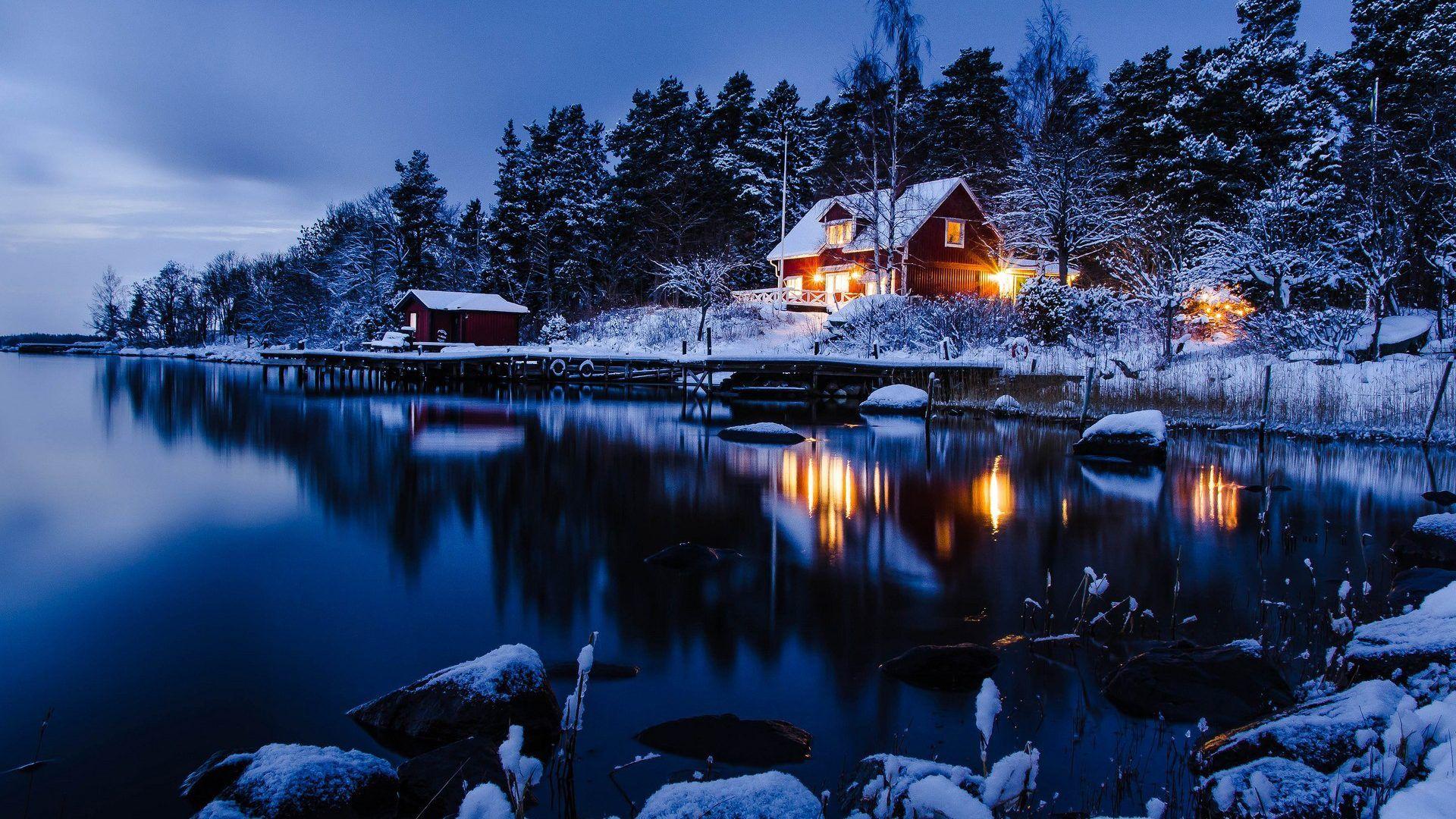 Winter Lake Winter Scenery Winter Landscape Winter House