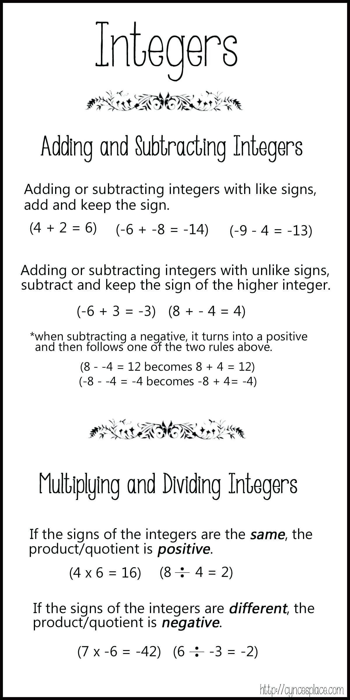 Multiplying Negative Numbers Worksheet General Adding Negative Numbers Worksheet Subtracting Integers Integers Dividing Integers
