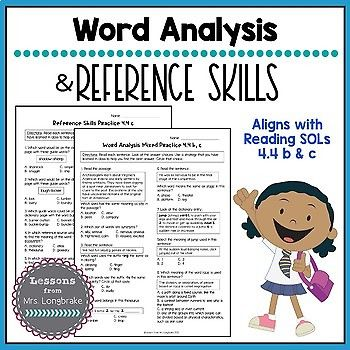 Reading SOL Word Analysis And Reference Skills