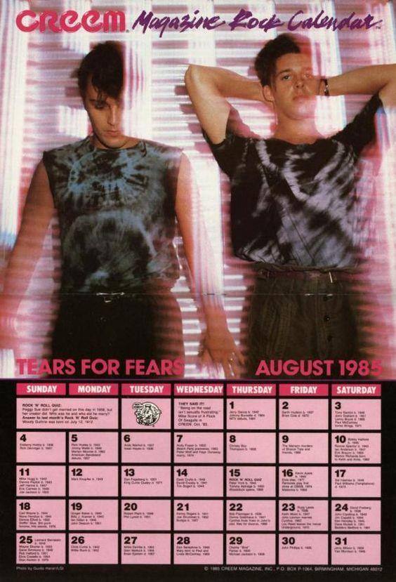 Tears For Fears 1985 Vintage Calendar Tears For Fears Boys On