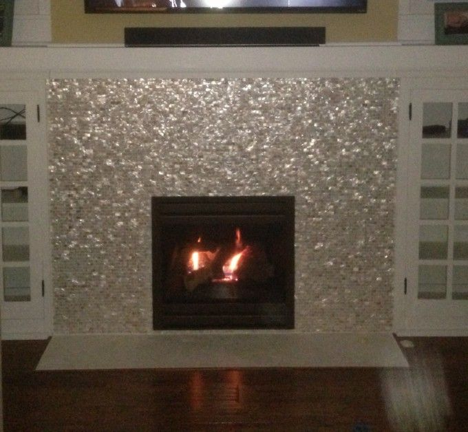 Fireplace Near Kitchen: Fireplace With Mother Of Pearl Tile And Abalone Shell Tile