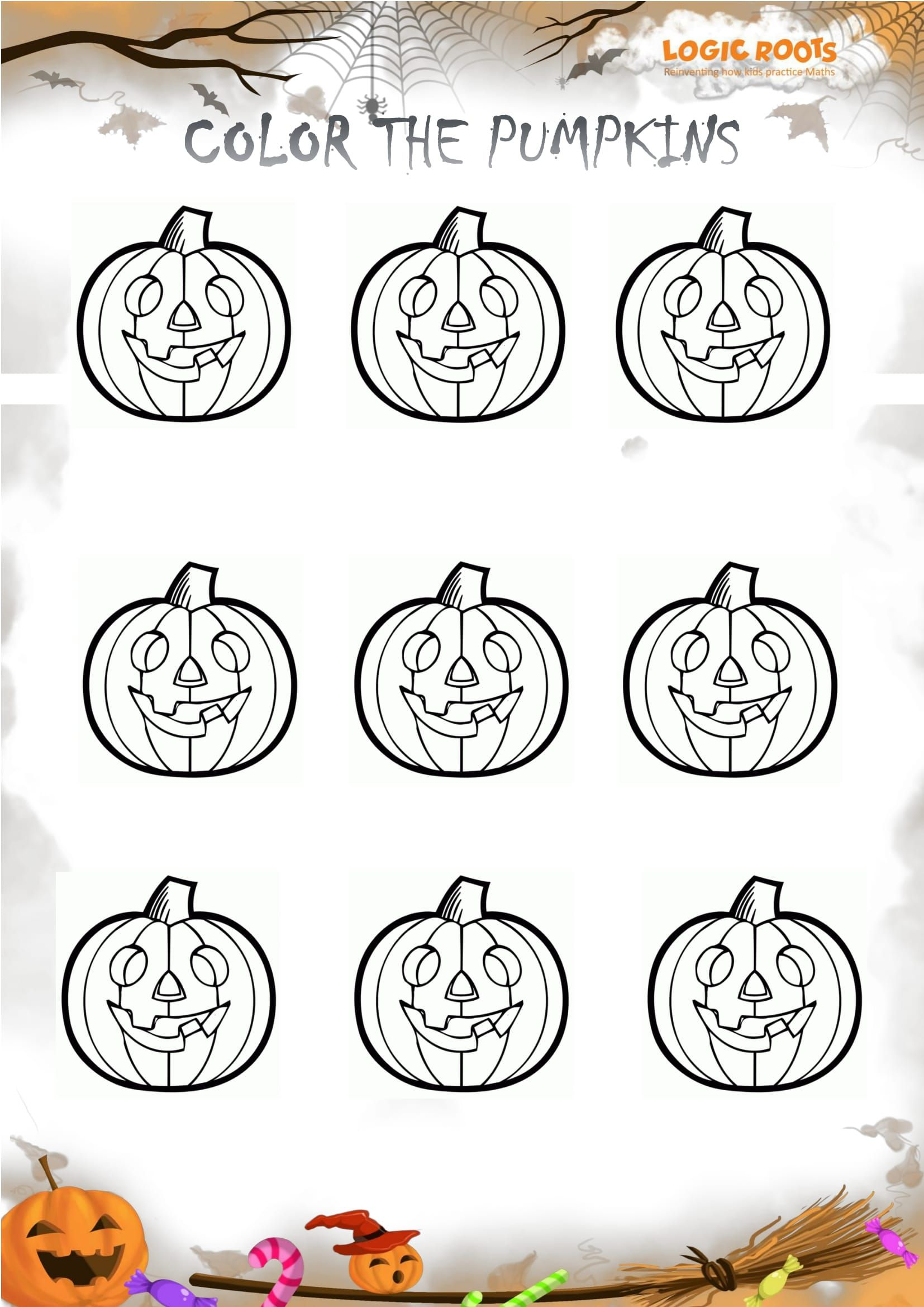 Halloween Math Activity Color The Pumpkins Logicroots Halloween Math Activities Halloween Math Fun Halloween Math [ 2339 x 1654 Pixel ]