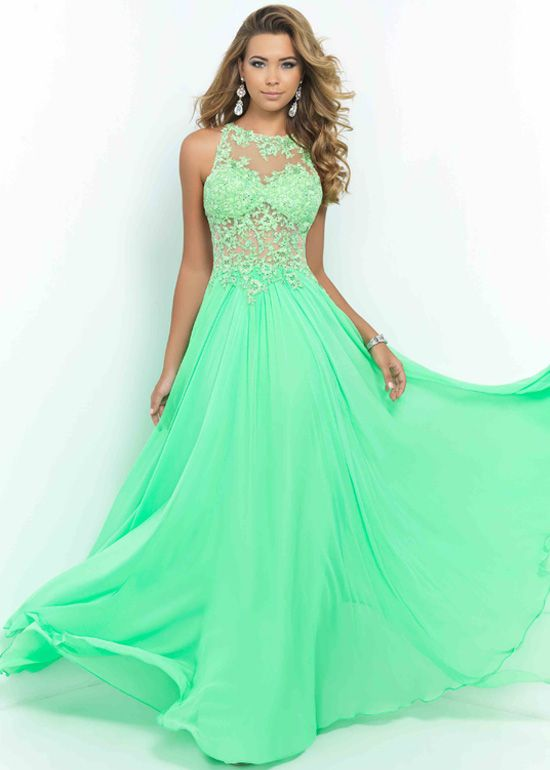 staggering Long Spring Green Illusion High Neck Cut Out Back Prom ...